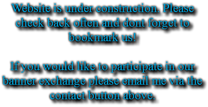 Website is under construction. Please check back often and dont forget to bookmark us! If you would like to participate in our banner exchange please email me via the contact button above.